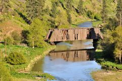 Harpole Railroad Covered Bridge with Reflection Stock Photos