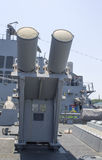 Harpoon cruise missile launchers on the deck of US Navy destroyer during Fleet Week 2012 Royalty Free Stock Images