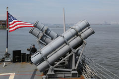 Harpoon cruise missile launchers on the deck of US Navy Ticonderoga-class cruiser Stock Photos