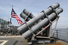 Harpoon cruise missile launchers on the deck of US Navy Ticonderoga-class cruiser Royalty Free Stock Photos