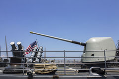 Harpoon cruise missile launchers and turret containing a 5-inch gun on the deck of US Navy destroyer during Fleet Week 2012 Stock Images