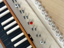 Harpsichord. Top view of a spinet with open lid Stock Images