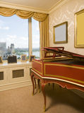 Harpsichord bedroom river view new york city Royalty Free Stock Photos