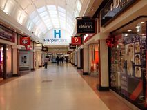 Harpur centre shopping mall, Bedford, UK. The harpur centre shopping arcade in Bedford, United Kingdom. This is a small shopping mall containng 36 shops in the stock image