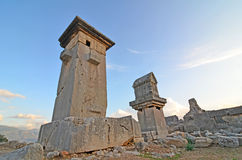 The Harpy monument. At sunset, in the Ancient Lycian capital of Xanthos, Turkey Stock Images