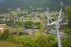 Harrachov in summer with view to ski jump and chairlift Stock Image