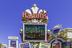 Harrah's Hotel and Casino sign on the famous Strip in Las Vegas, Nevada Stock Photo