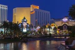 Harrahs hotell som sett från hägringen i Las Vegas, NV på Juni 0 Arkivbild