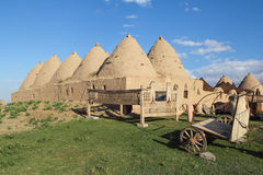 Harran beehive adobe houses, Urfa region, Turkey. Anatolia - Mudbrick house in the Harran village, Traditional mud brick beehive houses with cone-shaped roofs Royalty Free Stock Images
