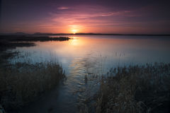 Harray fjordsolnedgång Royaltyfri Foto
