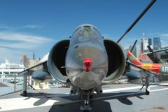 Harrier Jet Fighter. A Harrier fighter jet on the the deck of the USS Intrepid Royalty Free Stock Image