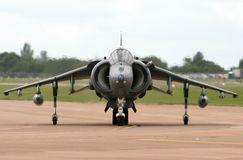 Harrier Jump Jet. A RAF Harrier taxis to the flight line at Fairford UK stock photography