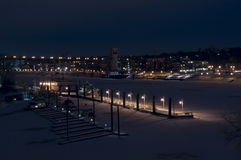 Harriet Island Pier on Mississippi River in Winter Royalty Free Stock Photography