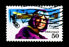 Harriet Quimby 1884-1914, 1st amerikanska kvinnapilot, flyg P Arkivfoto