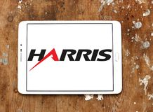 Harris Corporation logo. Logo of Harris Corporation on samsung tablet on wooden background. Harris Corporation is an American technology company, defense Stock Images