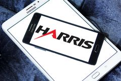 Harris Corporation logo. Logo of Harris Corporation on samsung mobile. Harris Corporation is an American technology company, defense contractor and information Stock Photography