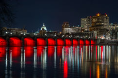 Harrisburg Market Street Bridge at night stock photography