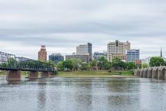 Harrisburg, Pennsylvania from city island across the susquehanna Royalty Free Stock Photography