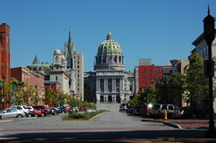 Harrisburg. Pennsylvania State Capitol in Harrisburg. Churches and building along State Street Stock Photos
