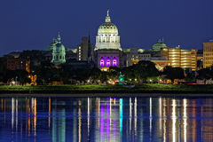 Harrisburg Pensilvânia na noite imagens de stock royalty free