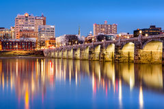 Harrisburg skyline and the historic Market Street Bridge at dusk Stock Image