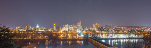 Harrisburg, Skyline at Night Royalty Free Stock Photos