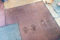 Harrison Ford Handprints und Abdrücke lizenzfreie stockbilder