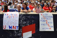 Soccer fans support U.S. Women`s National Soccer Team at Red Bull Stadium during friendly game against Mexico. HARRISON, NJ - MAY 26, 2019: Soccer fans support U royalty free stock photos
