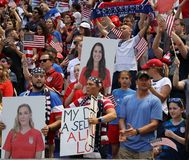 Soccer fans support U.S. Women`s National Soccer Team at Red Bull Stadium during friendly game against Mexico. HARRISON, NJ - MAY 26, 2019: Soccer fans support U stock photo