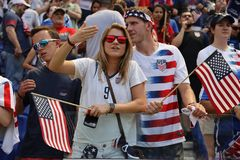 Soccer fans support U.S. Women`s National Soccer Team at Red Bull Stadium during friendly game against Mexico. HARRISON, NJ - MAY 26, 2019: Soccer fans support U stock photos
