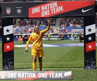 U.S. Women`s National Soccer Team goalkeeper Alyssa Naeher #1 during Send-Off Celebration for 2019 Women`s World Cup. HARRISON, NJ - MAY 26, 2019: U.S. Women`s royalty free stock images