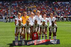 U.S. Women`s National Soccer Team line-up  before friendly game against Mexico as preparation for 2019 Women`s World Cup. HARRISON, NJ - MAY 26, 2019: U.S. Women royalty free stock images