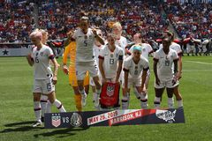 U.S. Women`s National Soccer Team line-up  before friendly game against Mexico as preparation for 2019 Women`s World Cup. HARRISON, NJ - MAY 26, 2019: U.S. Women stock photos