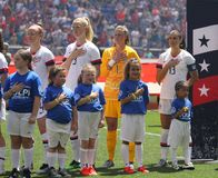 U.S. Women`s National Soccer Team during National Anthem at Red Bull Stadium before friendly game against Mexico. HARRISON, NJ - MAY 26, 2019: U.S. Women`s royalty free stock image