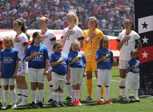 U.S. Women`s National Soccer Team during National Anthem at Red Bull Stadium before friendly game against Mexico. HARRISON, NJ - MAY 26, 2019: U.S. Women`s royalty free stock photos