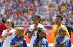 U.S. Women`s National Soccer Team during National Anthem at Red Bull Stadium before friendly game against Mexico. HARRISON, NJ - MAY 26, 2019: U.S. Women`s stock photo