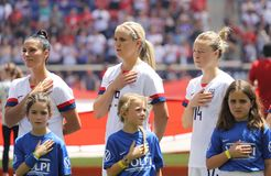 U.S. Women`s National Soccer Team during National Anthem at Red Bull Stadium before friendly game against Mexico. HARRISON, NJ - MAY 26, 2019: U.S. Women`s stock image