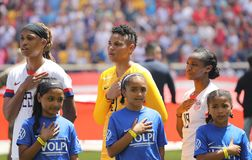 U.S. Women`s National Soccer Team during National Anthem at Red Bull Stadium before friendly game against Mexico. HARRISON, NJ - MAY 26, 2019: U.S. Women`s stock images