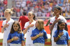 U.S. Women`s National Soccer Team during National Anthem at Red Bull Stadium before friendly game against Mexico. HARRISON, NJ - MAY 26, 2019: U.S. Women`s royalty free stock photo