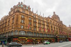 Harrod shopping center with Christmas season greeting decoration in London. London / UK - 17 November 2017: Harrod shopping center with Christmas season greeting stock photo