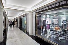 Harrods百货商店内部,豪华时尚在伦敦购物 库存图片
