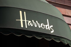 Harrods Canopy. London, United Kingdom, Apr 24, 2011 : Canopy on the exterior of Harrods department store in the Brompton Road, Knightsbridge Royalty Free Stock Photos