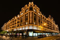Harrods department store in London at night Royalty Free Stock Images