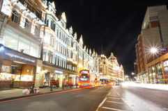 Harrods in der Nacht Stockfotografie