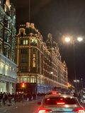 Harrods lit in the everning
