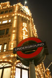 Harrods and London Underground Sign Royalty Free Stock Image