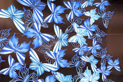 Harrods , luxury department store , blue butterflies, window decoration,  London United Kingdom Stock Image
