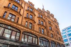Harrods luxury department store in London, England, UK. Architecture, britain, british, brompton, building, city, decoration, department, england, europe, facade stock images