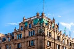 Harrods luxury department store in London, England, UK. Architecture, britain, british, brompton, building, city, decoration, department, england, europe, facade stock image