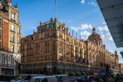 Harrods luxury department store in London, England, UK. Architecture, britain, british, brompton, building, city, decoration, department, england, europe, facade royalty free stock photos